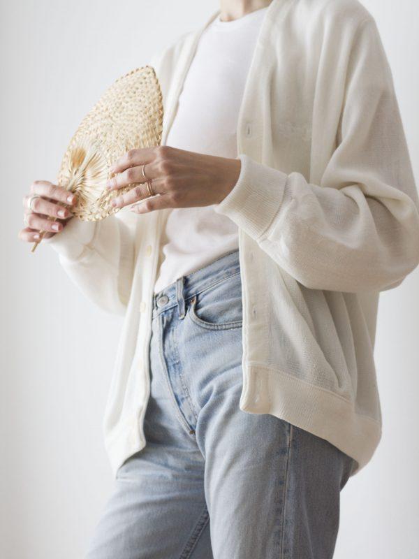 Cardigan de punto blanco
